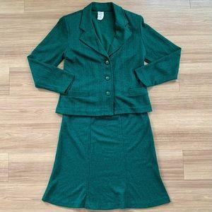 Weekenders Green & Black Houndstooth Skirt Set